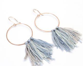 Denim blue circle tassel hoop earrings rose gold filled grey statement earrings blush pink gold filled ombre fabric hammered round hoops