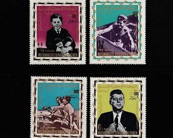President John F Kennedy Stamps-Mutawakelite Kingdom of Yemen-4 JFK Postage Stamp 1964 Lot-Political Scrapbooking Ephemera-Crafts Supplies