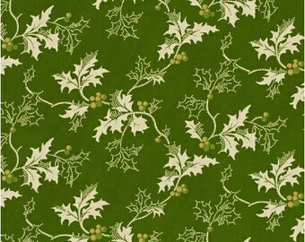 By The HALF YARD - Yuletide Memories by Lisa DeBee Schiller for Windham, Pattern #40399-3 Cream White Holly and Berries on Christmas Green
