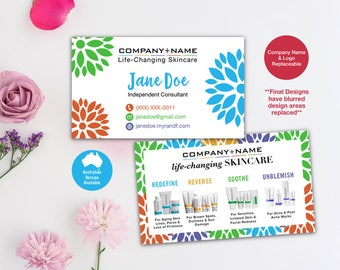 Rodan and Fields Business Cards, R and F Cards, Floral, RF, Rodan Business Card, Marketing, Branding, Printable, Digital