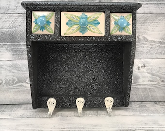 Apothecary Spice Cabinet, 3 Ceramic Drawers, Wood Wall Mount Shelf, Jewelry Organizer, Medicine Cabinet, Weed Storage, Item #548616743