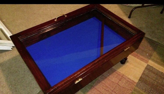 on sale wood shadow box coffee table military display case. Black Bedroom Furniture Sets. Home Design Ideas