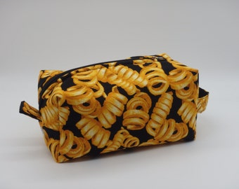 Curly Fries Bag, Zip Pouch, Travel Bag, Ditty Bag, Toiletry Kit, Pencil Case, Cosmetics Pouch, Go Bag, French Fry Lovers Gifts