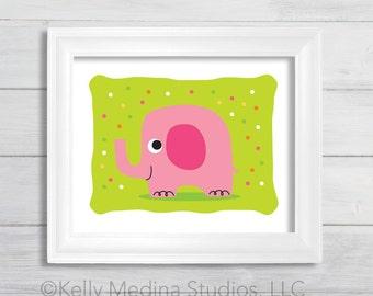 Pink Elephant Wall Art Print - Pink Green Yellow - Printed Kid's Wall Art by Kelly Medina