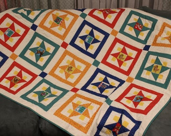 Paw Patrol Quilt, child's quilt, toddler quilt, bright color quilt, couch quilt, throw, Dog quilt, free shipping