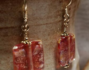 Handmade Earrings - Red Foil Glass, 14K Gold-Filled Earwires - SHIMMERS