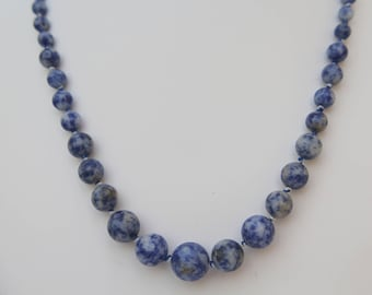 Sodalite Necklace, Graduated, Knotted, Evening Wear. Minimalist, Blue, Handmade, Multi-coloured