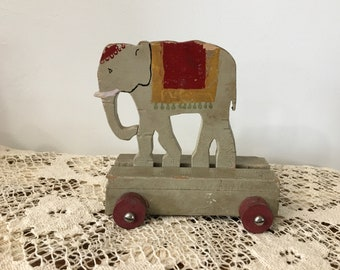 Vintage Wood Circus Elephant Pull Toy, Folk Art 1950s, Handmade Toy