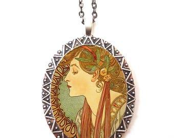 Alphonse Mucha Necklace Pendant Silver Tone - Art Nouveau Boho Bohemian Ivy Cameo Gypsy