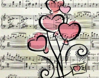 Hearts Print on Vintage Sheet Music, Customizable