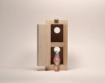 Double minimalist bird house, wooden birdhouse, modern shape, eco friendly, handmade for spring time