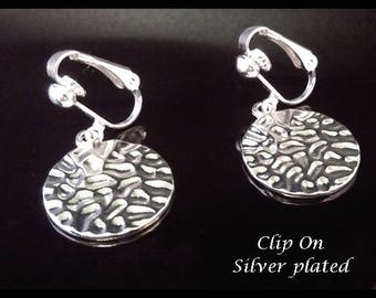 Clip On Earrings: Beautiful Silver Plated Hammered Finish Costume Clip-on Earrings | Fashion Earrings, Dangle Earrings, Clip Earrings 349