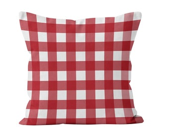 Red Gingham Pillow Cover, Red farmhouse pillow cover, red plaid pillow cover, red gingham throw pillow cushion cover, red farmhouse decor
