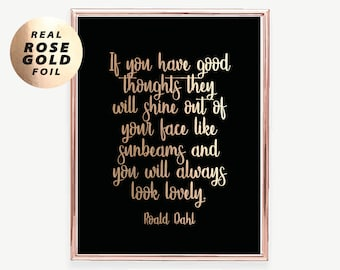 A3/A4 Roald Dahl Inspirational Quote Print, Foil Print, Roald Dahl Poster,  Typography Quote, Modern Home Decor Gold Silver Rose Gold Decor