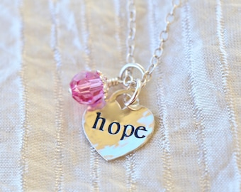 Hope for a Cure Breast Cancer Awareness Sterling silver necklace with Pink Swarovski Crystal and Sterling bead cap