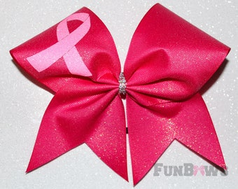 Awesome  Pink Glitter Cheerleading Bow Awareness  - by FunBows ! Great for a Budget