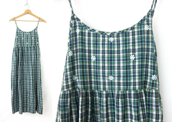 90s Plaid Print Dress Blue Green Cotton Slip Dress Long Tank Dress Vintage Sundress Loose Fit Frock Jumper Summer Dress Womens Large