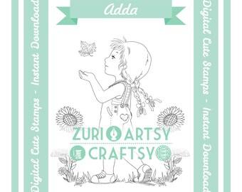 Adda, Digital Stamp, Cute Girl, Scrapbooking Digital Stamp, Instant Download, Zuri Artsy Craftsy, Autum