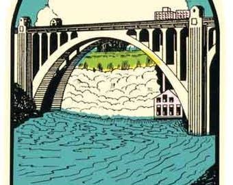 Vintage Style Spokane WA Washington  1950's    Travel Decal sticker