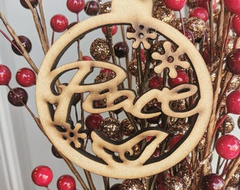 Peace Holiday Winter Christmas Wood Laser Cut Ornament   Unique Holiday Gift