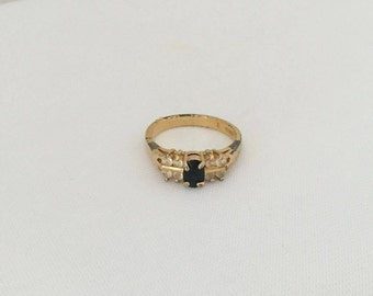Vintage Jewelry Black Sapphire & White Stone Ring Size 6.75