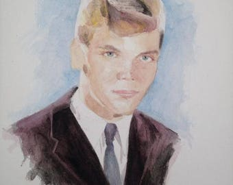 Original painting of 1950s, 1960s Pop and Rock 'n' Roll singer Brian Hyland. Teen Idol, Pop Star, Sealed with a Kiss.