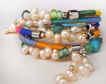Pearl Wrap Bracelet, Multi Color Bangle Bracelet,  Boho Bracelet