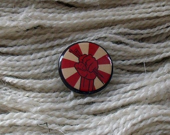 "Knit Commie Color 1"" Button for Knitting Knitters Who Knit"