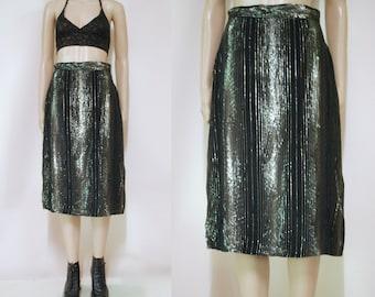 80s Black and Gold Metallic Skirt High Waist Knee Length Vintage Retro 1980s Size S-M