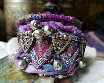 Jester Bohemian Wrap Bracelet,, Ethiopian Face Telsum, Indian Textile, Sari Silk Ribbon Bracelet, Silk Wrap Bracelet