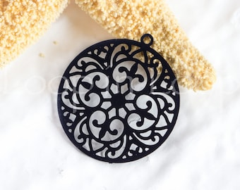 25%OFF Filigree Round Connector, Laser Cut Black Charm, thin Earring Charm, Round Metal Pendant - 4 pcs