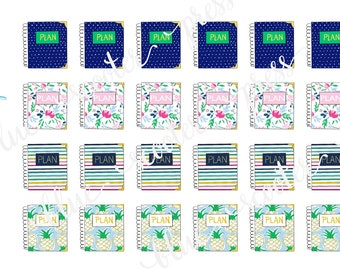 Hand Drawn Emily Ley Simplified Planners Sampler #2. 24 MATTE Stickers.