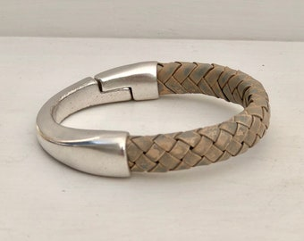 Thick GRAY braided leather cuff BRACELET half leather, half metal magnetic SILVER clasp bracelet