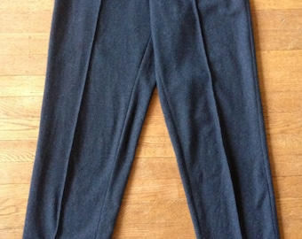 1990's Charcoal Wool Flannel Minimalist Slim Pants Closed Brand Italy