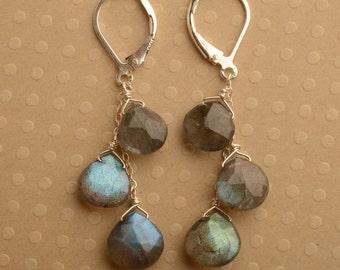 Labradorite Earrings, Gemstone Dangle, Silver Gemstone Earrings, Labradorite Dangle Earrings, Healing Gemstone Jewelry