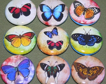 Butterfly Splatter Magnets - One Inch