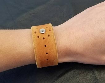 Leather Cuff Bracelet with Crystal Rivet, Boho Leather Bracelet, Tan Leather Bracelet, Bohemian Jewelry, Genuine Leather Jewelry