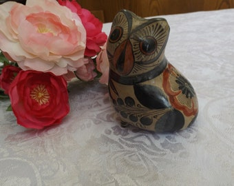 Vintage Owl Signed Solis Mexico owl  figurine porcelain hand painted. Collectible. home decor.Bird Gift idea
