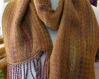 Handwoven Plaited Twill 100% Rayon Scarf