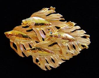JJ Jonette Shiny Gold Tone Shoal Of Angelfish Brooch Pin