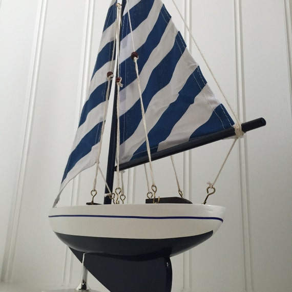 Blue Wooden Model Sailboat   Model Ship   Model Boat   Wedding Centerpiece,  Blue Striped Pacific Sailer, Sailboat Decor, Boat Decor