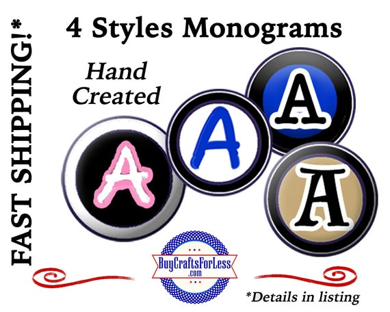 MONOGRAMS - Handmade - As Charm, SLiDER or SNaP - Use for Bracelets, Key Rings, Pendants, Pet Collars or Chokers - 99cent SHiPPiNG