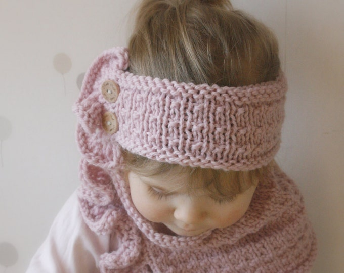 KNITTING PATTERN headband and cowl Laura with ruffles and buttons (toddler, child, adult sizes)