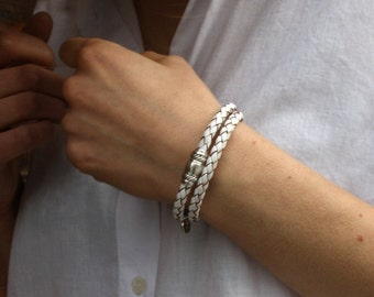 White Leather Bracelet / Braided Leather Wrap Bracelet / Mens and Womens Bracelet / Taylor