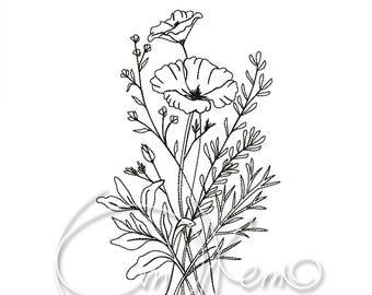 MACHINE EMBROIDERY DESIGN - Flower bouquet
