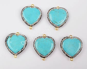 5pieces,Rhinestone Pave Connector,Blue Natural Howlite Turqouoise Pendant,Slice Connector,Howlite Stone,Turquoise Howlite Connector,JD751-JB