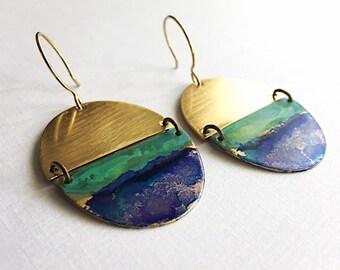 Broken Brass Oval Earrings - Watercolor Patina