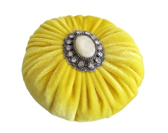 "3.5"" Yellow Velvet Sewing Pincushion with Rhinestone Decoration"