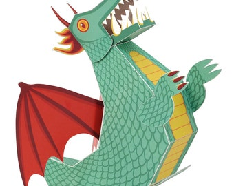 Green Dragon Paper Toy - DIY Paper Craft Kit - 3D Model Paper Figure
