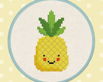 Pineapple Cross Stitch Pattern Happy Fruit PDF Modern Cute Simple Tropical Counted Cross Stitch Pattern Instant Download